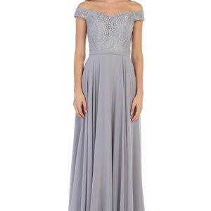 Long Misses Gray Lace Off Shoulder Bridesmaid Gown